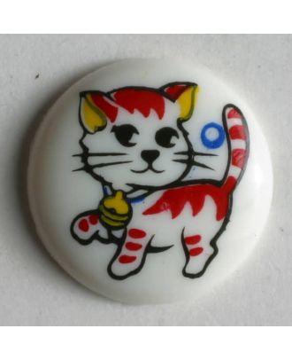 Kinderknopf bemalt mit einem spielenden Kätzchen - Größe: 15mm - Farbe: weiß - Art.Nr. 210562