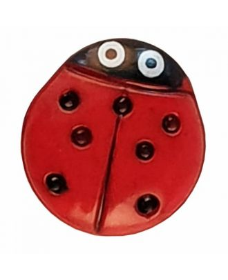 Kinderknopf in Form eines schönen Marienkäfers - Größe: 15mm - Farbe: rot - Art.Nr. 280474