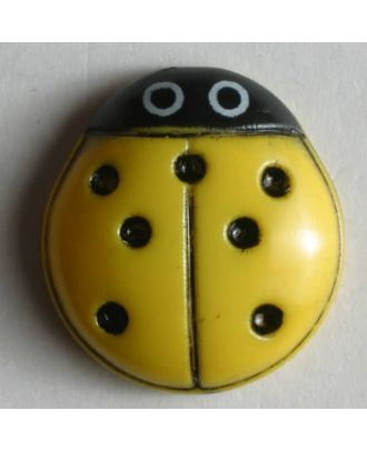 Kinderknopf in Form eines schönen Marienkäfers - Größe: 15mm - Farbe: gelb - Art.Nr. 280578