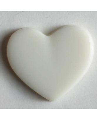 Kinderknopf in Form eines Herzes -  Größe: 13mm - Farbe: weiß - Art.Nr. 170135