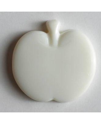 Kinderknopf in Form eines Apfels - Größe: 18mm - Farbe: weiß - Art.Nr. 200777
