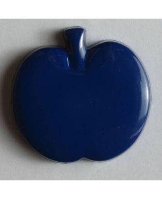 Kinderknopf in Form eines Apfels - Größe: 18mm - Farbe: blau - Art.Nr. 200779
