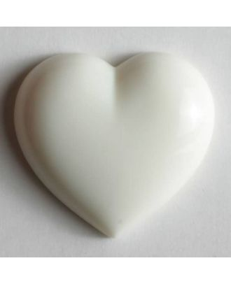 Kunststoffknopf in Form eines Herzes - Größe: 20mm - Farbe: weiß - Art.Nr. 251063