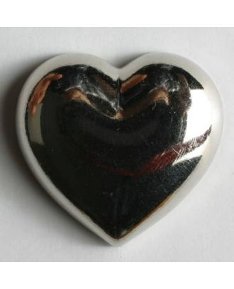 metallisierter Kunststoffknopf in Form eines Herzes -  Größe: 14mm - Farbe: silber - Art.Nr. 221144