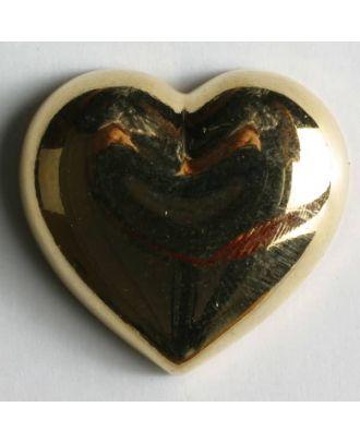 metallisierter Kunststoffknopf in Form eines Herzes - Größe: 20mm - Farbe: gold - Art.Nr. 280506