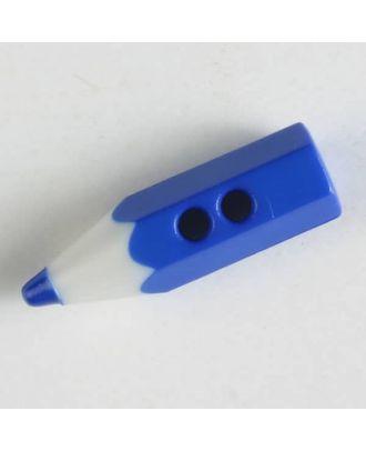Bastelknopf in Form eines Bleistifts - Größe: 18mm - Farbe: blau - Art.Nr. 230719