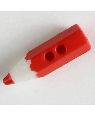 Bastelknopf in Form eines Bleistifts - Größe: 18mm - Farbe: rot - Art.Nr. 230042