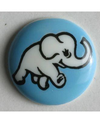 Kinderknopf mit Elefantenmotiv - Größe: 15mm - Farbe: blau - Art.Nr. 210937
