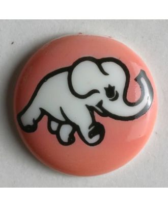 Kinderknopf mit Elefantenmotiv - Größe: 15mm - Farbe: pink - Art.Nr. 210938