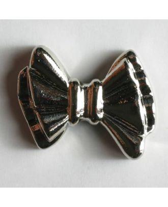 metallisierter Kunststoffknopf in Form einer Schleife - Größe: 20mm - Farbe: silber - Art.Nr. 270382