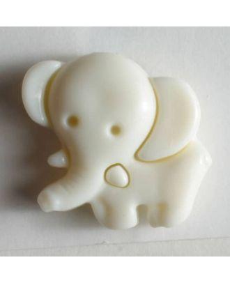 KInderknopf in Form eines Elefants -  Größe: 20mm - Farbe: weiß - Art.Nr. 230900
