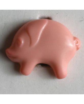 Kinderknopf in Form eines Schweins - Größe: 18mm - Farbe: pink - Art.Nr. 190769