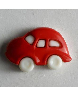Kinderknopf in Form eines Autos - Größe: 20mm - Farbe: rot - Art.Nr. 230916