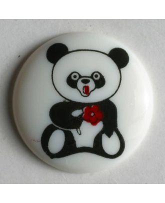 Kinderknopf mit Pandabär-Motiv - Größe: 18mm - Farbe: weiß - Art.Nr. 221016
