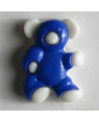 Kunststoffknopf in Form eines Bärchens - Größe: 18mm - Farbe: blau - Art.Nr. 231006