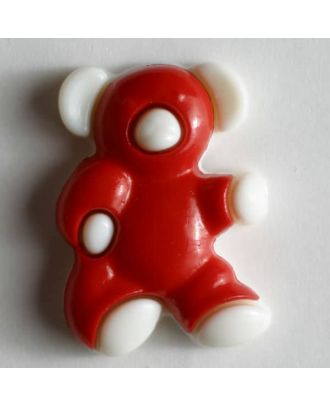 Kunststoffknopf in Form eines Bärchens - Größe: 18mm - Farbe: rot - Art.Nr. 231010