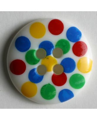 Knopf mit bunten Punkten bemalt - Größe: 18mm - Farbe: weiß - Art.Nr. 221076