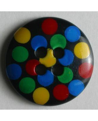Knopf mit bunten Punkten bemalt -  Größe: 15mm - Farbe: schwarz - Art.Nr. 211073