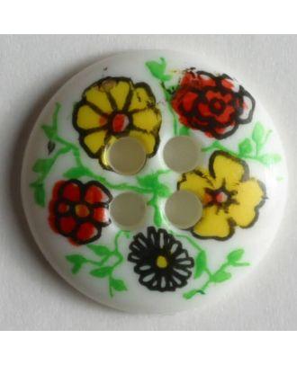 Knopf mit schönen Blumen bemalt - Größe: 15mm - Farbe: weiß - Art.Nr. 211039