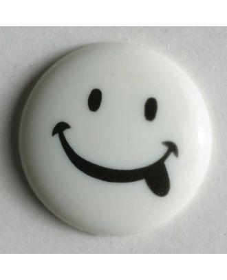 frecher Smilyknopf -  Größe: 18mm - Farbe: weiß - Art.Nr. 221095