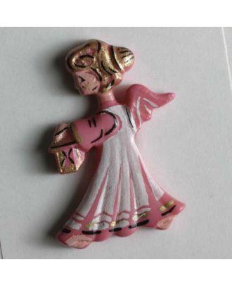 Weihnachtsknopf schöner Engel - Größe: 25mm - Farbe: pink - Art.Nr. 320099