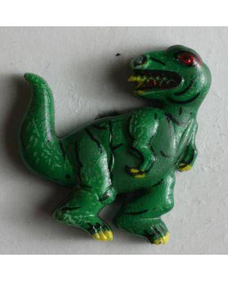 Kinderknopf in Form eines Dinosauriers - Größe: 28mm - Farbe: grün - Art.Nr. 300270