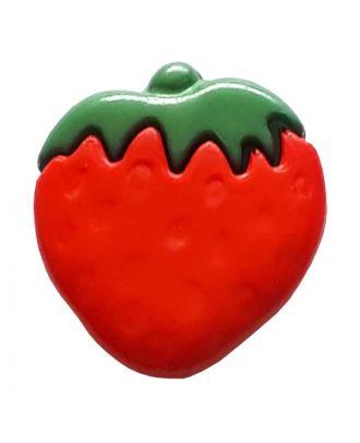 Kinderknopf reife Erdbeere - Größe: 15mm - Farbe: rot - Art.Nr. 251013