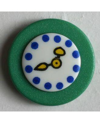 Kinderknopf Wanduhr - : 18mm - Farbe: grün - Art.Nr. 250929