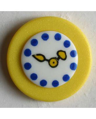 Kinderknopf Wanduhr - Größe: 18mm - Farbe: gelb - Art.Nr. 250931