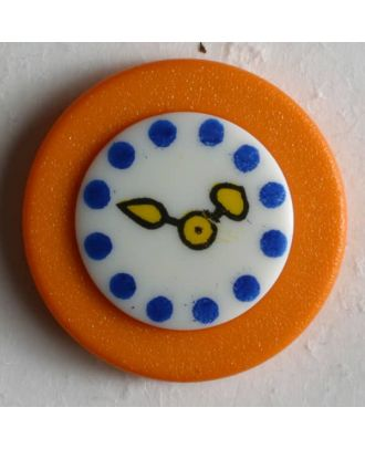 Kinderknopf Wanduhr - Größe: 18mm - Farbe: orange - Art.Nr. 250932