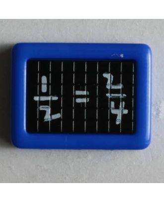 Kinderknopf Schultafel mit mathematischer Gleichung - Größe: 22mm - Farbe: blau - Art.Nr. 251195