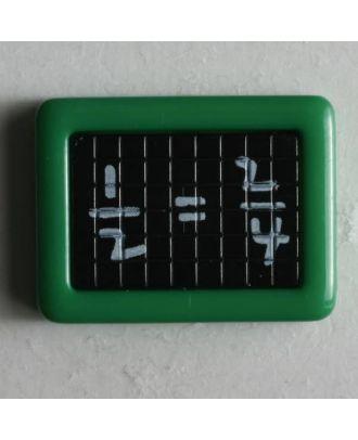 Kinderknopf Schultafel mit mathematischer Gleichung -  Größe: 22mm - Farbe: grün - Art.Nr. 251196
