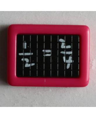 Kinderknopf Schultafel mit mathematischer Gleichung -  Größe: 22mm - Farbe: pink - Art.Nr. 251197