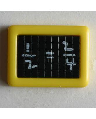 Kinderknopf Schultafel mit mathematischer Gleichung - Größe: 22mm - Farbe: gelb - Art.Nr. 251198