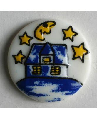 Kinderknopf Häuschen bei Nacht  -  Größe: 18mm - Farbe: weiß - Art.Nr. 231383