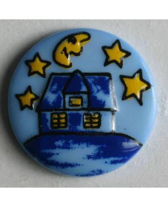 Kinderknopf Häuschen bei Nacht  - Größe: 18mm - Farbe: blau - Art.Nr. 231302