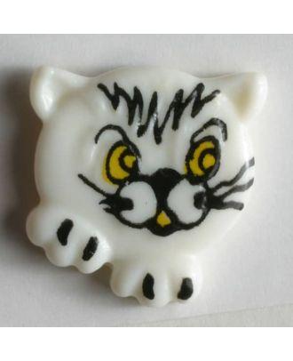 Kinderknopf süßes Kätzchen - Größe: 20mm - Farbe: weiß - Art.Nr. 251172