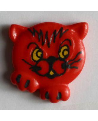 Kinderknopf süßes Kätzchen - Größe: 20mm - Farbe: rot - Art.Nr. 251175