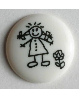 Mädchenknopf - Größe: 18mm - Farbe: weiß - Art.Nr. 221507