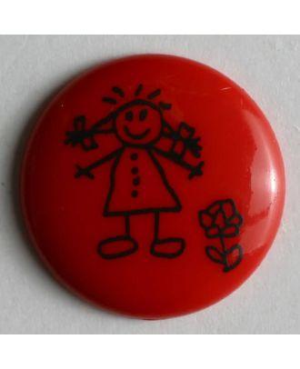Mädchenknopf - Größe: 18mm - Farbe: rot - Art.Nr. 221480