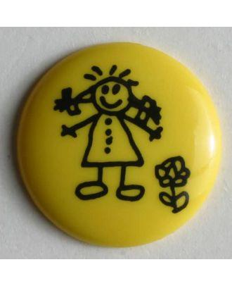 Mädchenknopf - Größe: 15mm - Farbe: gelb - Art.Nr. 211426