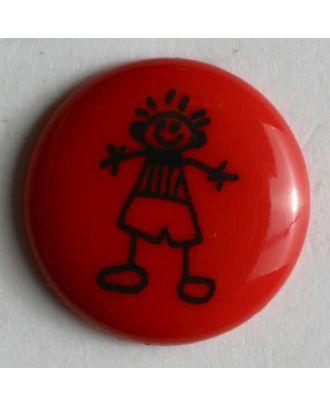 Kinderknopf mit aufgemaltem Jungen - Größe: 15mm - Farbe: rot - Art.Nr. 211433