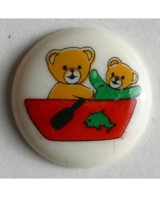 Kinderknopf zwei Bärchen in einem Boot - Größe: 15mm - Farbe: beige - Art.Nr. 211513