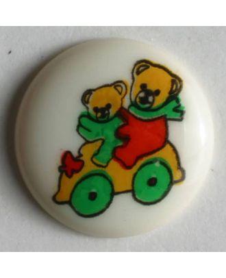 Kinderknopf zwei Bärchen in Auto - Größe: 15mm - Farbe: beige - Art.Nr. 211515