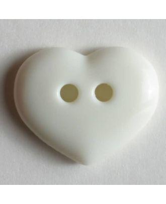 glänzender Herzknopf - Größe: 15mm - Farbe: weiß - Art.Nr. 211452