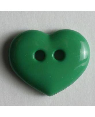 glänzender Herzknopf - Größe: 15mm - Farbe: grün - Art.Nr. 211454