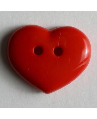 glänzender Herzknopf -  Größe: 15mm - Farbe: rot - Art.Nr. 211455