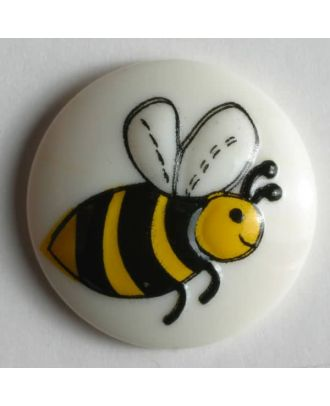 Kinderknopf mit süßer Biene - Größe: 18mm - Farbe: weiß - Art.Nr. 231384
