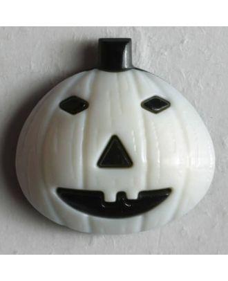 Kinderknopf Kürbis Halloween - Größe: 18mm - Farbe: weiß - Art.Nr. 251270