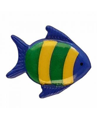 Kinderknopf hübscher bunter Fisch - Größe: 18mm - Farbe: blau - Art.Nr. 251272